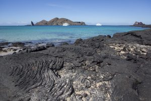 Lava and turquoise sea in Bartolome Island.