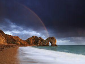 Rainbow over Durdle Door, Dorset.