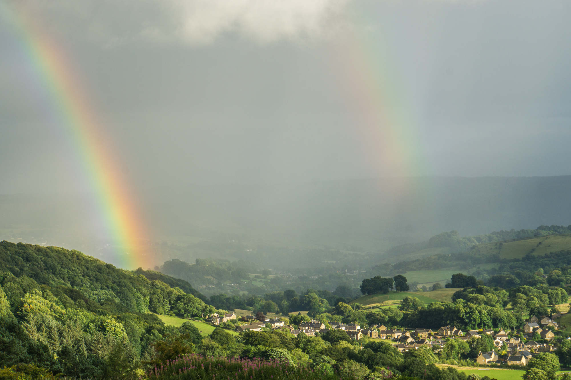 Double rainbow over the village of Eyam, Peak District